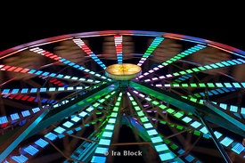 Illuminated ferris wheel ride at the Rice County Fair, Faribault, Minnesota.