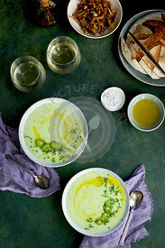 Cream of Potato Chive Soup with Chili Oil and Roasted Jalapeno.