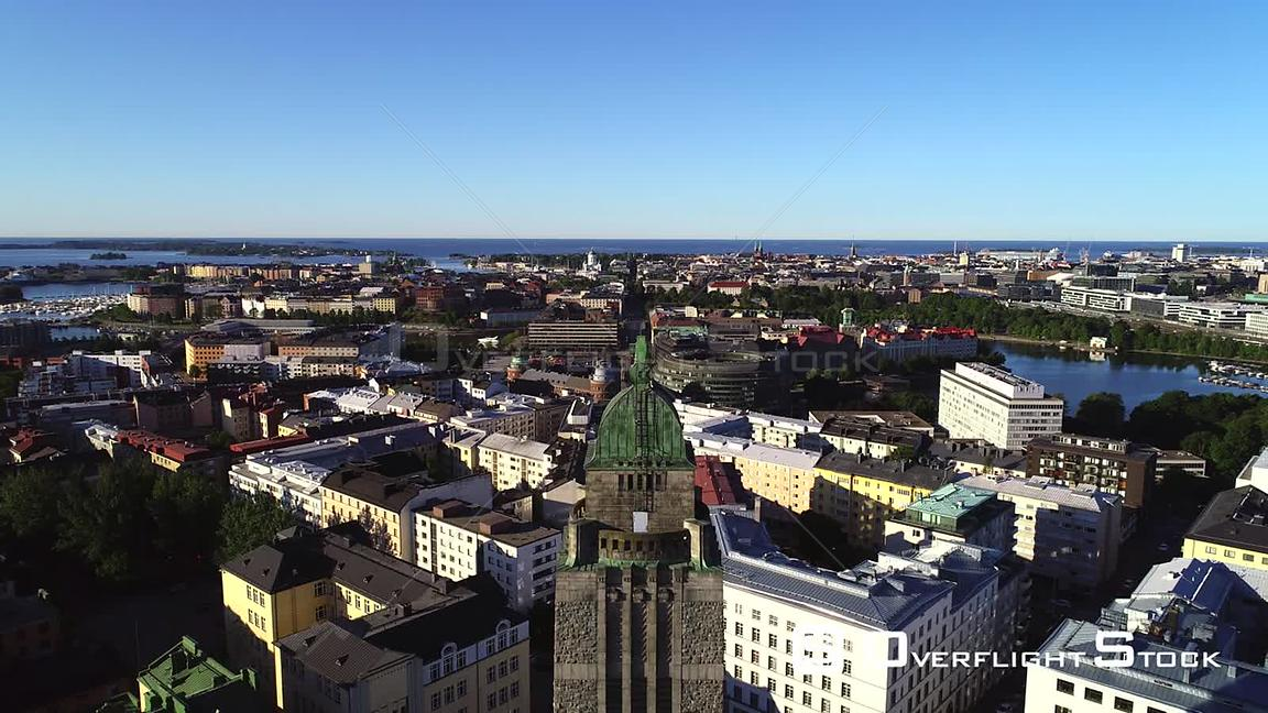 Helsinki Church, Uhd Aerial Descending View of Kallio Cityscape and the Cathedral, in the City of Helsinki, on a Sunny Summer Morning Dawn, in Helsingfors, Uusimaa, Finland