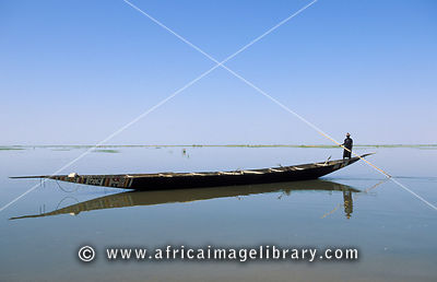 Pirogue on the river Niger, 20km from Timbuktu, Mali