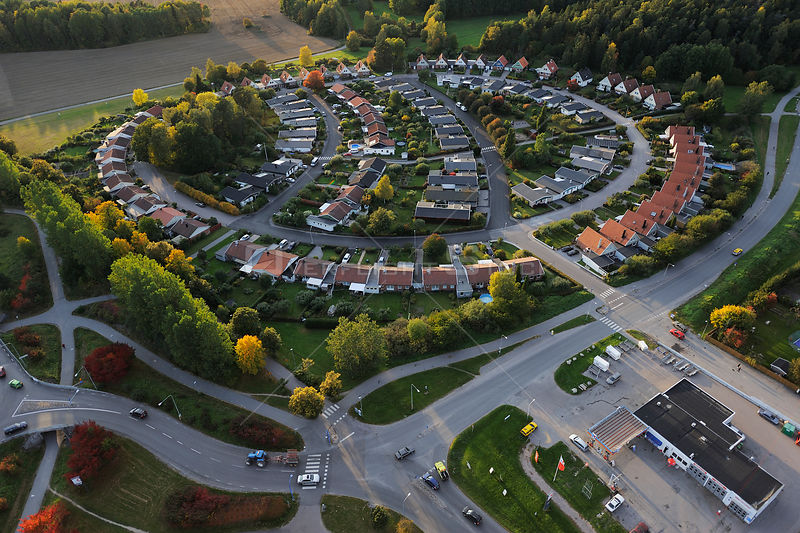 Aerial view of Sollentuna a suburb of Stockholm, Uppland, Sweden, September 2008
