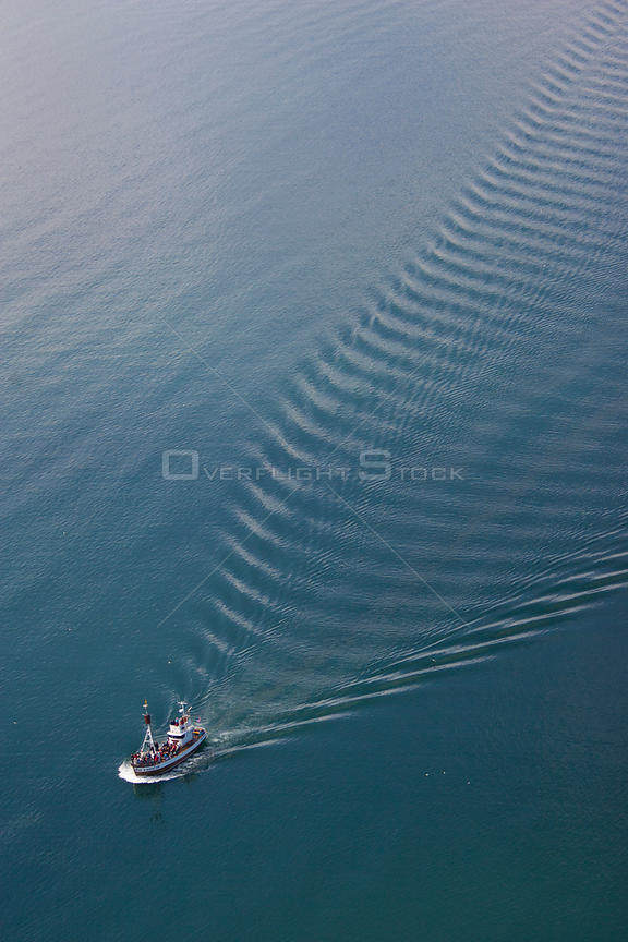 Aerial of whale-watching boat, Skjafandi Bay, Iceland, June 2009.