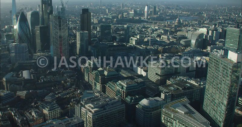 London Aerial footage, City of London towards Shoreditch.