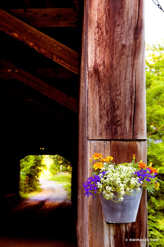 FLOWER BUCKET HOWE COVERED BRIDGE VERMONT COLOR