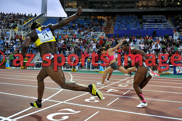 Brigitte Foster-Hylton from Jamaica wins the women's 100m Hurdles 12.58sec at the IAAF WAF in Thessaloniki 2009 Greece