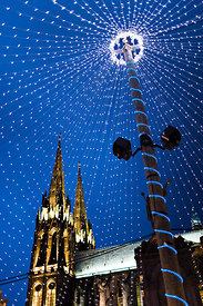 Cathedral and Place de la Victoire with Christmas fairy lights, Clermont Ferrand