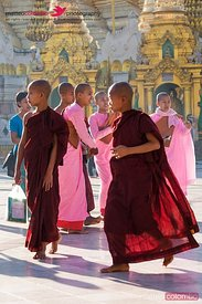 Burmese novice monks and nuns playing, Yangon, Myanmar