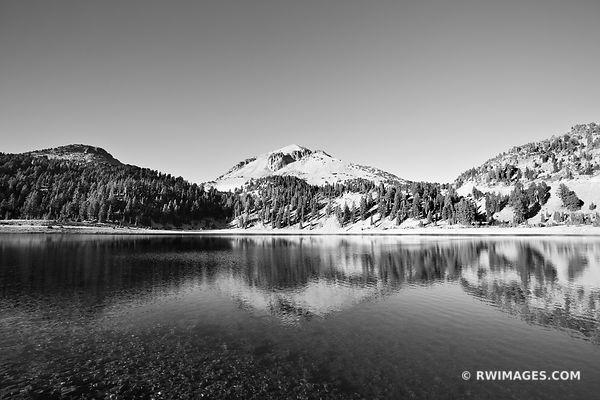 LAKE HELEN LASSEN PEAK LASSEN VOLCANIC NATIONAL PARK CALIFORNIA BLACK AND WHITE