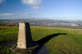 Trig Point on Tumulus Garth Mountain above Taffs Well, South Wales Valleys, Wales, UK.