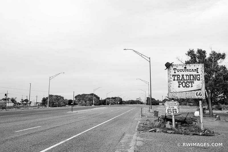 OLD TRADING POST SIGN TUCUMCARI NEW MEXICO ROUTE 66 BLACK AND WHITE