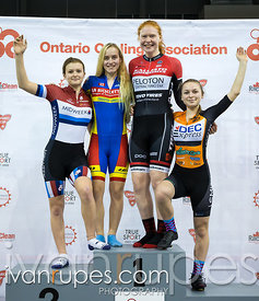 U17 Women Team Pursuit Podium. 2016/2017 Track O-Cup #3/Eastern Track Challenge, Mattamy National Cycling Centre, Milton, On, February 11, 2017