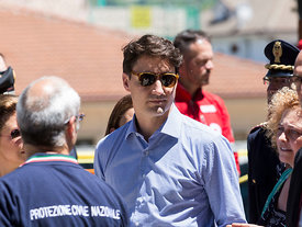 Justin Trudeau visits the Italian town of Amatrice uninhabited since being destroyed in an earthquake on the night of 23rd 24th August 2016 , Amatrice, Italy, 28, May, 2017