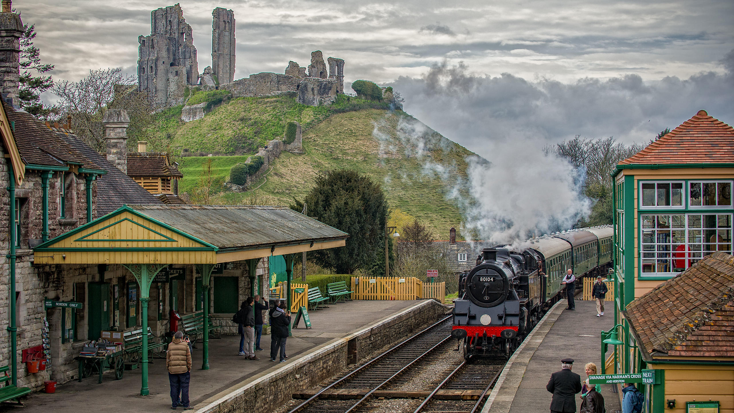 Swanage Railway Steam Train Pulling into Norden Station