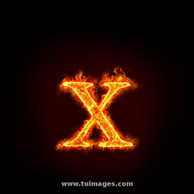 fire alphabets, small letter x
