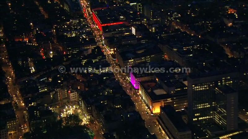 Aerial footage of Oxford Street at night