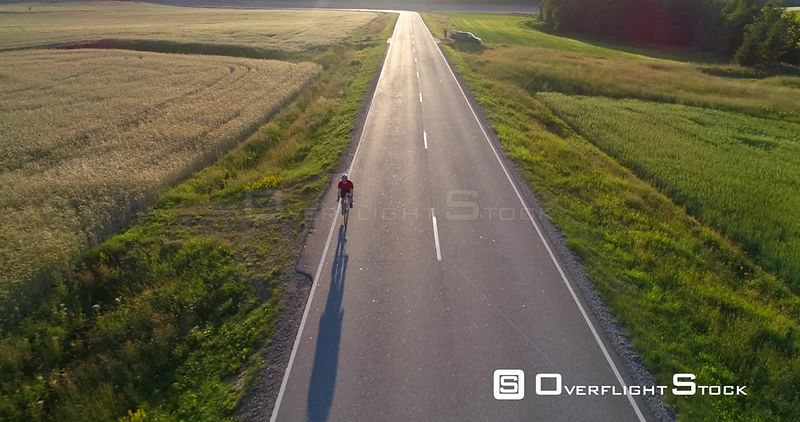 Man biking on the countryside, C4K aerial view away from a biker driving on a road, between wheat fields, on a sunny summer evening, in Uusimaa, Finland