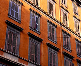 Ochred facade of Via Cavour, Rome