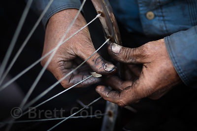 A bicycle repairman with 40 years of experience in Jodhpur, Rajasthan, India
