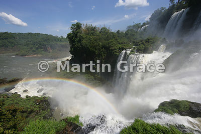 Rainbow at base of Western Cataracts, Iguassu (Iguazu) Falls, Argentina