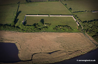 aerial photograph of Burgh Castle Roman Fort  Norfolk England UK