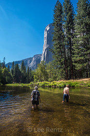 Karen and Max Wading in Merced River in Yosemite National Park
