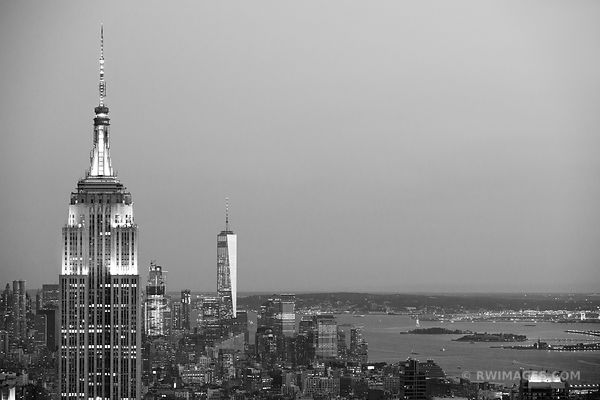 EMPIRE STATE BUILDING FREEDOM TOWER MANHATTAN SKYLINE NEW YORK CITY BLACK AND WHITE