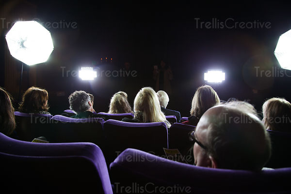 A crowd of people sit in a movie theater on a movie set