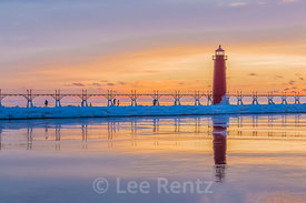 Beautiful Sunset over Grand Haven Lighthouse