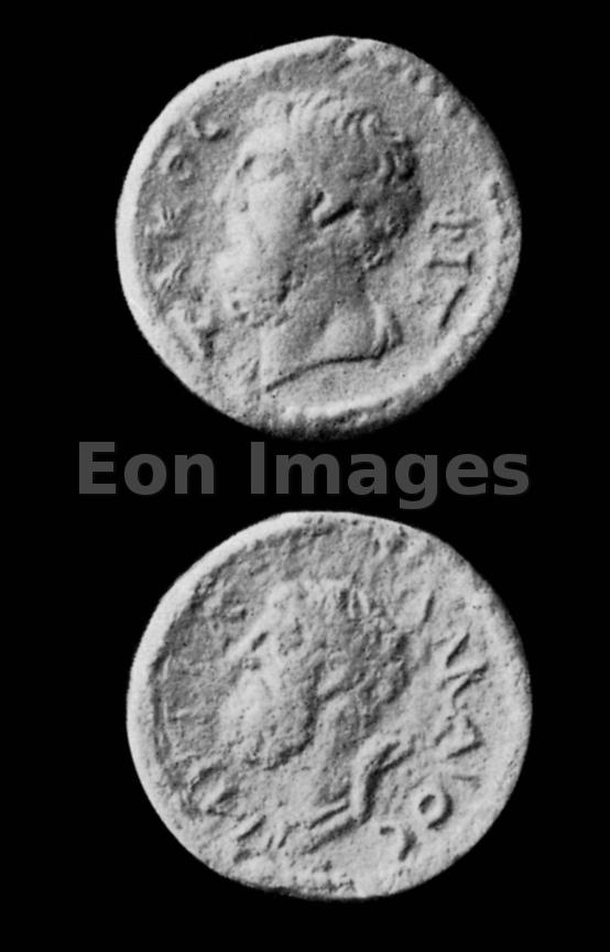 Greek coins depicting Pittakos and Alkaios