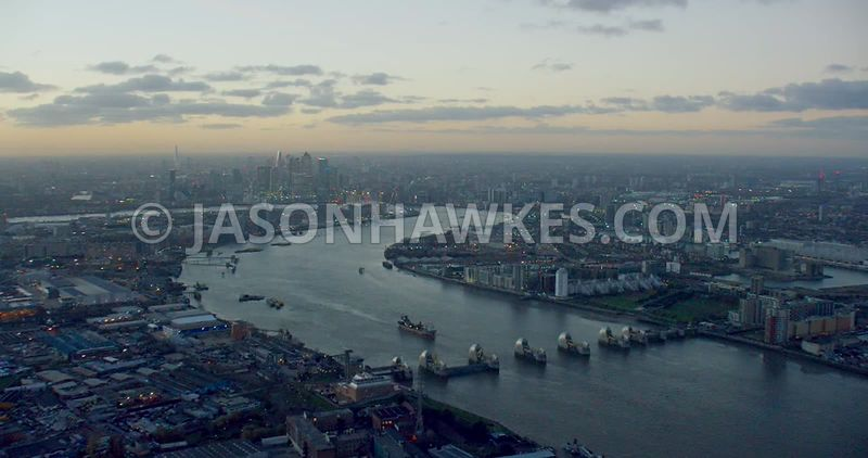 Aerial footage of the River Thames, looking from the Thames Barrier to the O2 Arena