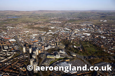 aerial photograph of Rochdale  Greater Manchester England UK