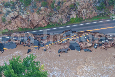 Colorado flood: road damage along Big Thompson River