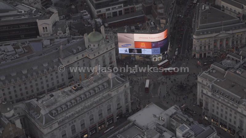 Aerial footage of Piccadilly Circus, London