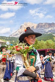 Woman in traditional clothing, Sudtirol, Dolomites, Italy