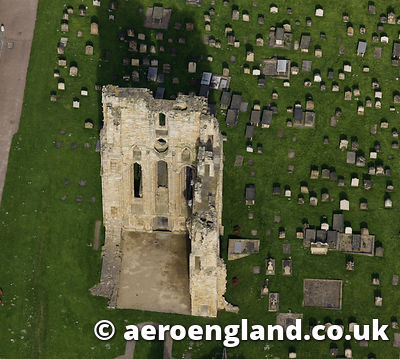 aerial photograph of Tynemouth Priory , Tyne & Wear North East England  UK
