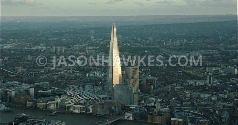 London Aerial Footage of The Shard with London Bridge Station.