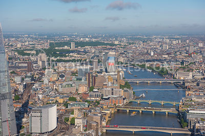 Aerial view of River Thames and bridges