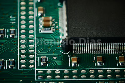 Micro computer chip in detail with perfect welds