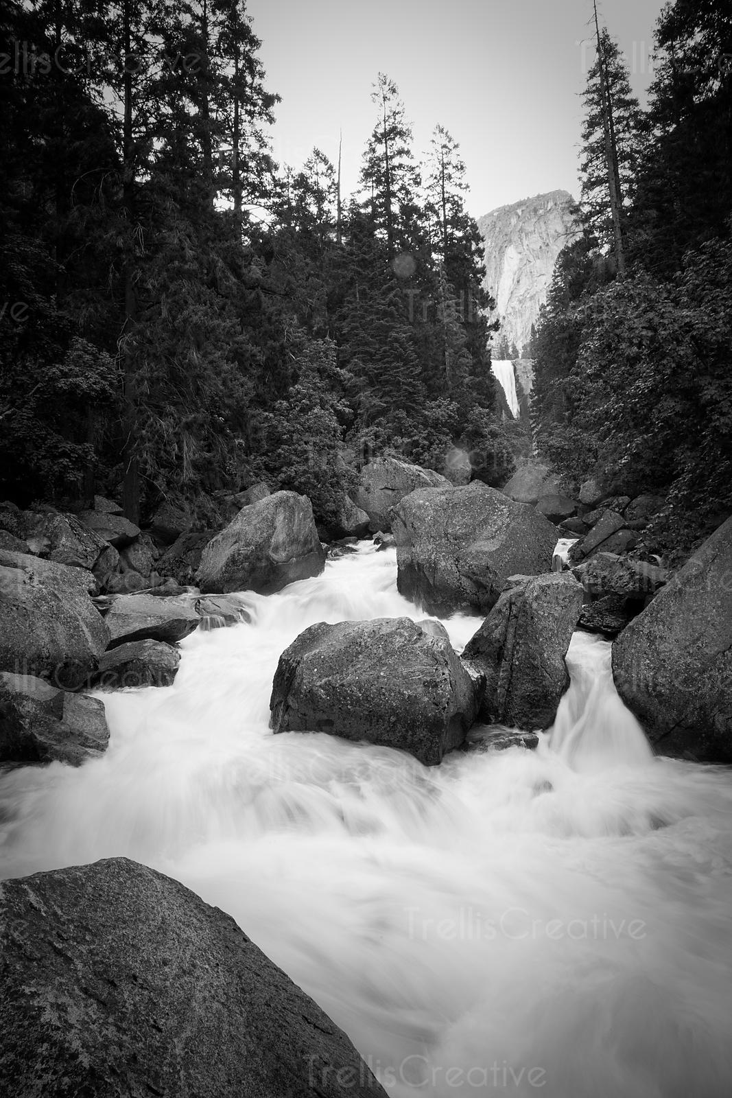 Rushing Merced river along Half Dome Hike, Yosemite National Park, California