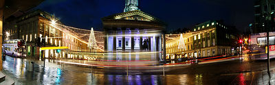 Night time panoramic pictures on Queen Street, Glasgow..23.11.12.Gallery of Modern Art, Royal Exchange Square..Picture Copyright:.Iain McLean,.79 Earlspark Avenue,.Glasgow.G43 2HE.07901 604 365.photomclean@googlemail.com.www.iainmclean.com.All Rights Reserved.No Syndication.