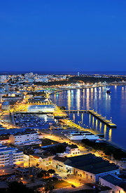 Setúbal and the Sado river bay at twilight. Portugal