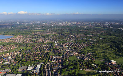 aerial photograph of Whitefield Bury Greater Manchester  England UK