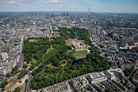 Buckingham Palace St. james Park and Downtown London England