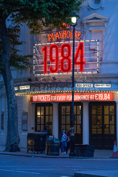 Signs for '1984' running at the Playhouse Theatre in London