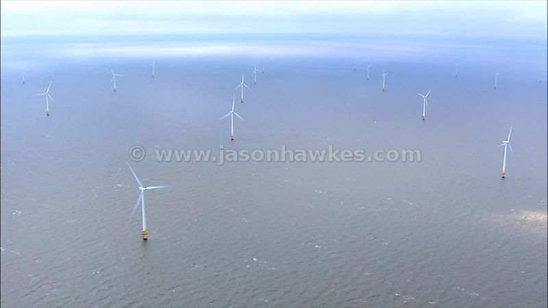 Aerial footage of Kentish Flats offshore wind farm
