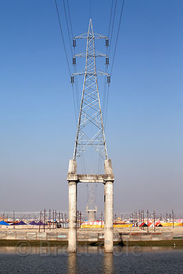 Elevated power lines along the Ganges River, Allahabad, India.