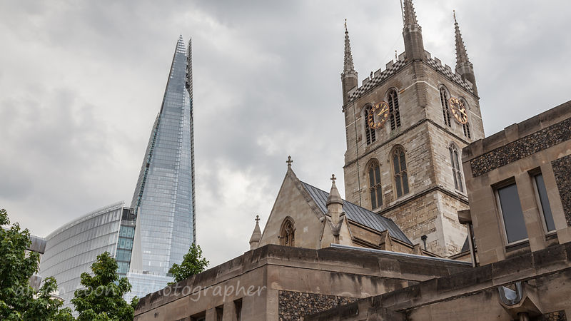 Southwark Cathedral and The Shard, London