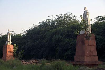 India - Delhi - Statues of King George V and other Imperial notables and Viceroys at the Coronation Durbar site near Delhi, India