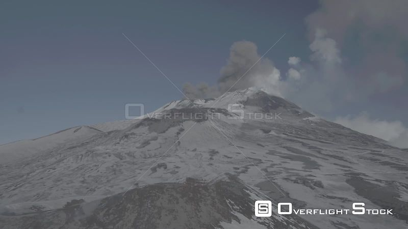Mount Etna Smouldering with Ash And Smoke. Sicily Italy