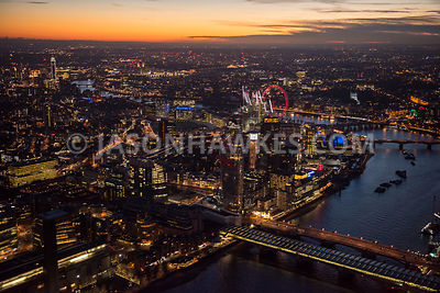 Aerial view of London, Blackfriars with River Thames towards Westminster.
